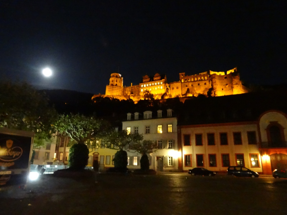 The Heidelberg castle and full moon on Sep 30, 2012 (Moon Festival) on Karlsplatz