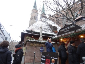 One of the bratwurst store in front of the St. Sebaldus Church.