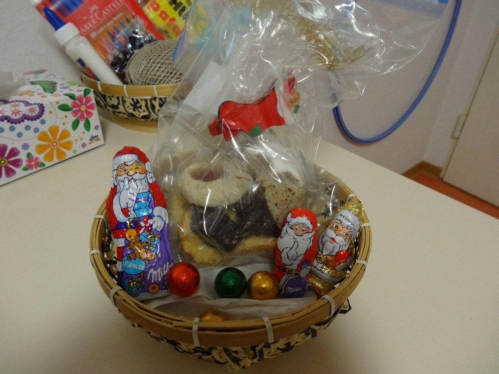 Now my basket is filled with Christmas snacks! The cookies are very traditional here – they're called Weihnachtsgebäck and are only available during December