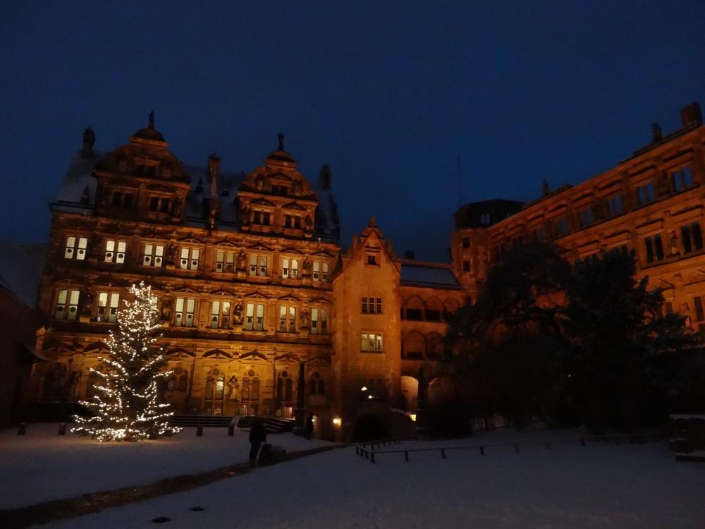Heidelberg Castle courtyard.  Merry Christmas! Frohe Weihnachten!