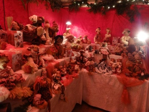 Handmade teddy bears in one of the booths at the palace market