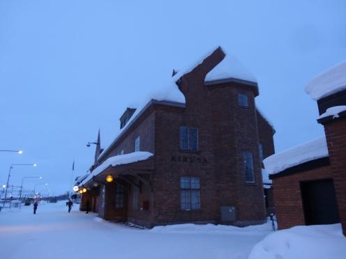 Arriving in Kiruna by train