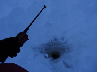 We tried ice fishing, but didn't catch anything.
